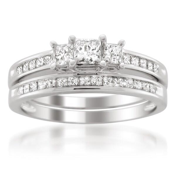 Platinum 1ct TDW Princess-cut Diamond Bridal Ring Set (H-I, I1-I2)
