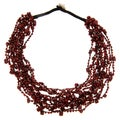 Red Glass Bead Chips Necklace (India)