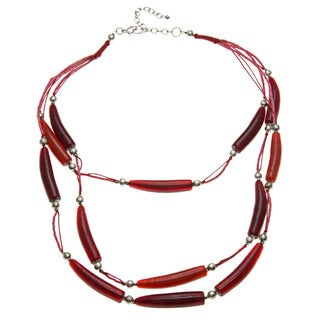 Polished Red Glass Bead Necklace (India)