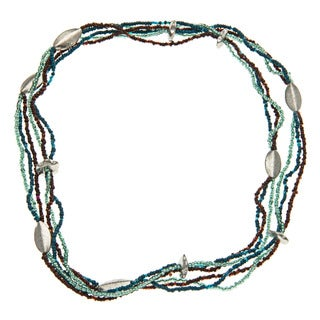 Multi-Strand Blue and Green Beaded Necklace (India)