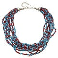 Multi-Strand Blue and Red Beaded Necklace (India)