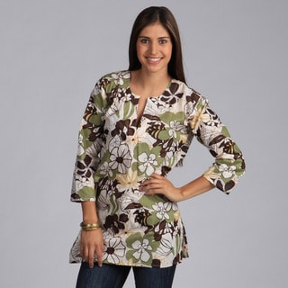 Olive Green and Beige Floral Tunic (India)