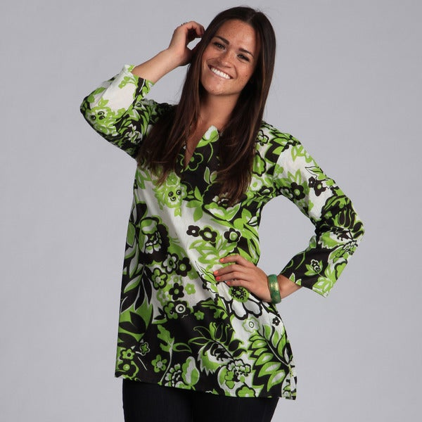 Green and Black-Floral Printed Tunic (India)