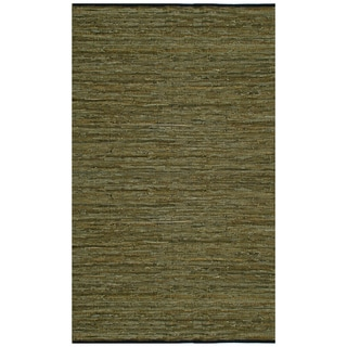 Hand Woven Matador Green Leather Rug (10' x 14')