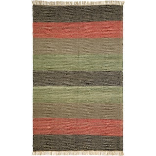 Hand-woven Matador Striped Leather Area Rug (9' x 12')