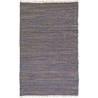 Hand-woven Matador Purple Leather Hemp Accent Rug (30 x 50)