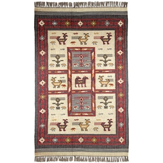 Hand Woven Tribal Wool and Jute Rug (5' x 8')