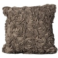 Mina Victory Light Brown Wool Felt Floral 20 x 20-inch Pillow by Nourison