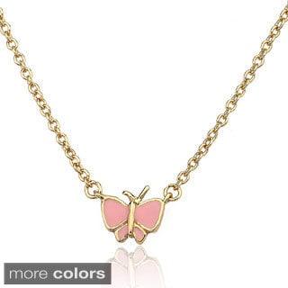 Little Miss Twin Stars 14k Gold Overlay Children's Enamel Butterfly Necklace