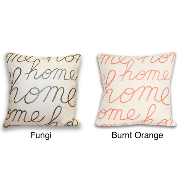 Thro Home Embroidered Script 18-inch Decorative Pillow