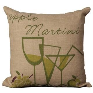 Mina Victory Jute Apple Martini Print 20 x 20-inch Decorative Pillow by Nourison