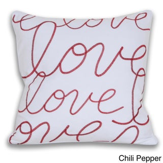 Thro 'Love' Embroidered 18-inch Throw Pillow