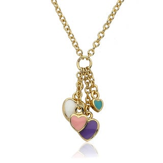Little Miss Twin Stars Gold Overlay Children's Enamel Heart Necklace