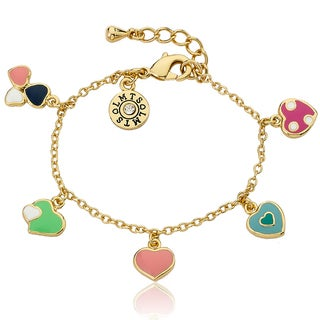 Little Miss Twin Stars Jewel-Accented 14k Gold-Plated Children's Heart Charm Bracelet