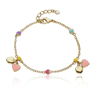 Little Miss Twin Stars 14k Goldplated Children's Heart Charm Bracelet