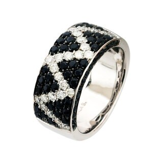 Sonia Bitton 14k White Gold Sapphire and 1/2ct TDW Diamond Ring (G-H, SI1-SI2)