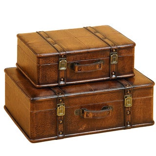 Casa Cortes Leather Decorative Trunk Cases (Set of 2)