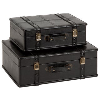 Casa Cortes Black Leather Decorative Trunk Cases (Set of 2)