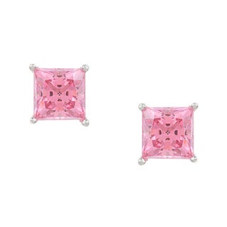 Sunstone .925 Sterling Silver Pink Cubic Zirconia Earrings Made with SWAROVSKI ZIRCONIA