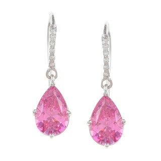 Sunstone Sterling Silver Pink Dangle Earrings Made with SWAROVSKI ZIRCONIA
