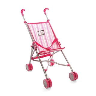 The New York Doll Collection Pink Striped Umbrella Doll Stroller