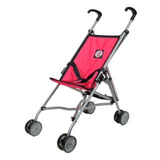 The New York Doll Collection Pink and Black Umbrella Doll Stroller