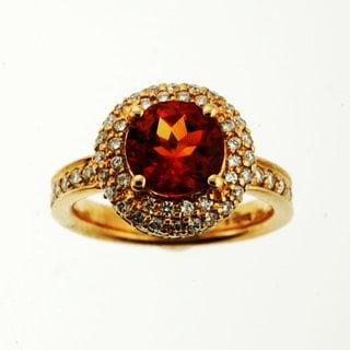 Sonia Bitton 18k Gold Citrine 1 1/8ct TDW Diamond Ring