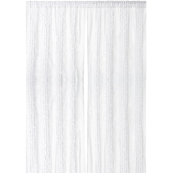 White Ruffled Luxury 96-inch Curtain Panel