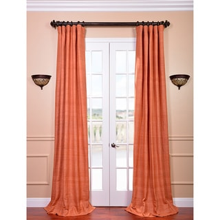 Raw Silk Terracotta Curtain Panel