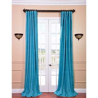Raw Silk Cozumel Blue Curtain Panel