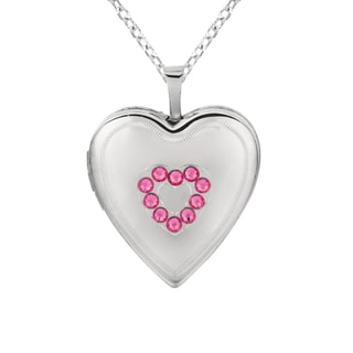 Sterling Silver Pink Crystal Heart-shaped Locket Necklace
