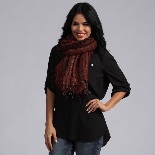 KC Signatures Layered Classic Wool Scarf with Lurex