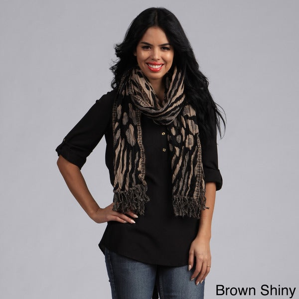 KC Signatures Textured Animal Print Shimmery Wool Scarf