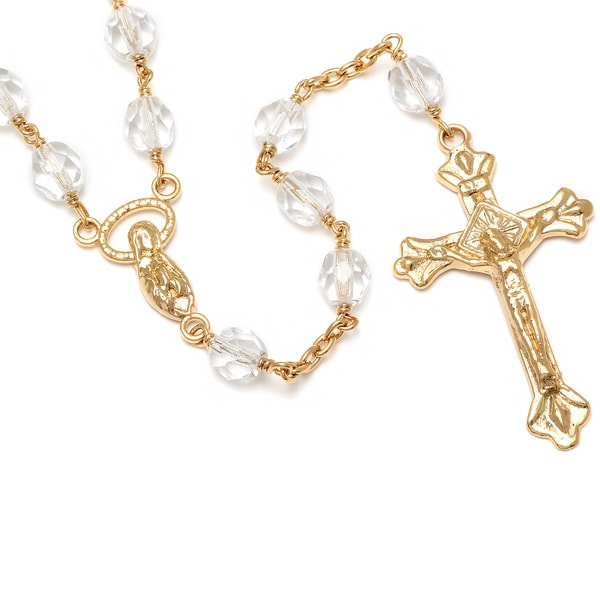 Sterling Essentials 14k Goldplated Rosary Necklace with Clear Crystal Bead