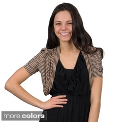 Journee Collection Juniors Ruched Sleeve Cropped Cardigan