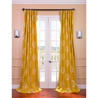 Isles Mustard Printed Cotton Curtain Panel