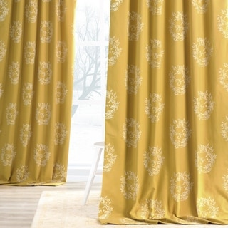 Exclusive Fabrics Isles Mustard Printed Cotton Curtain Panel