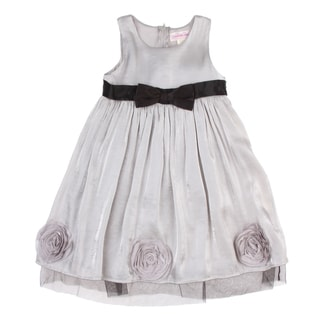 Paulinie Girls Silver Rosette Detailed Satin Dress