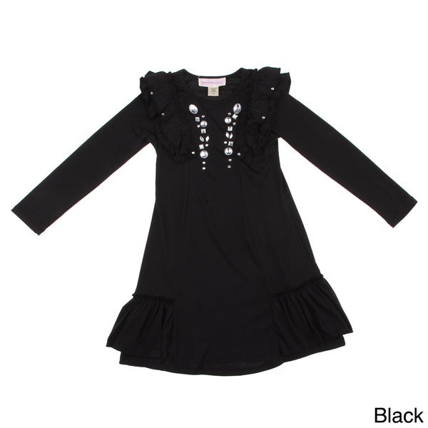 Paulinie Collection Girls Long Sleeve Dress with Clear Stones