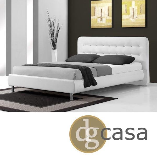 DG Casa Ritz White Button-tufted Headboard Bed