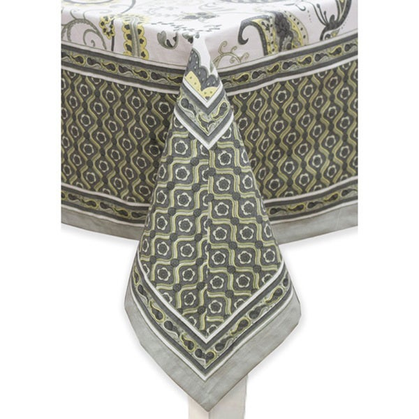 Mahogany Grey 'Beth' Cotton Printed Tablecloth or Set of 4 Napkins