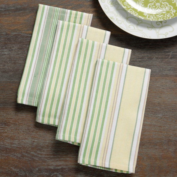 Mahogany Yellow and Rose 'Summer Stripe' Table Cloth or Set of 4 Napkins