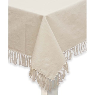 Mahogany Ivory Fringed Cotton Tablecloth or Set of 4 Napkins