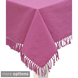 Mahogany Rose Fringed Cotton Tablecloth or Set of 4 Napkins