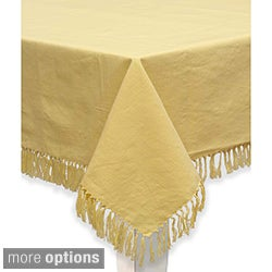 Mahogany Yellow Fringed Cotton Tablecloth or Set of 4 Napkins