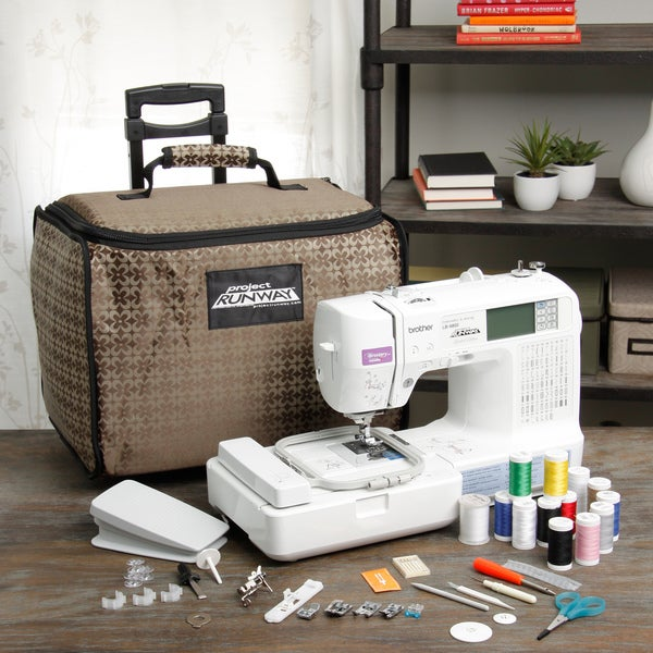 project runway sewing and embroidery machine with tote lb6800prw