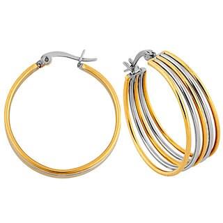 Two-tone Stainless Steel 5-row Hoop Earrings