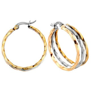 Tri-color Stainless Steel Twist Hoop Earrings