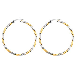 Goldplated Stainless Steel Rope Twist Hoop Earrings