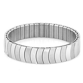 Stainless Steel Crescent Segment Stretch Bracelet